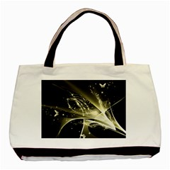 Awesome Glowing Lines With Beautiful Butterflies On Black Background Basic Tote Bag (two Sides)  by FantasyWorld7