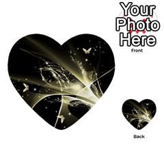 Awesome Glowing Lines With Beautiful Butterflies On Black Background Multi Purpose Cards (heart)  by FantasyWorld7