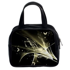 Awesome Glowing Lines With Beautiful Butterflies On Black Background Classic Handbags (2 Sides) by FantasyWorld7
