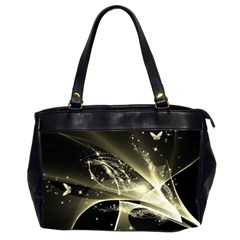 Awesome Glowing Lines With Beautiful Butterflies On Black Background Office Handbags (2 Sides)  by FantasyWorld7