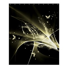 Awesome Glowing Lines With Beautiful Butterflies On Black Background Shower Curtain 60  X 72  (medium)  by FantasyWorld7