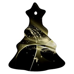 Awesome Glowing Lines With Beautiful Butterflies On Black Background Christmas Tree Ornament (2 Sides)