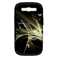 Awesome Glowing Lines With Beautiful Butterflies On Black Background Samsung Galaxy S Iii Hardshell Case (pc+silicone) by FantasyWorld7