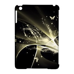 Awesome Glowing Lines With Beautiful Butterflies On Black Background Apple iPad Mini Hardshell Case (Compatible with Smart Cover) by FantasyWorld7