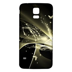 Awesome Glowing Lines With Beautiful Butterflies On Black Background Samsung Galaxy S5 Back Case (white) by FantasyWorld7
