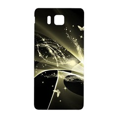 Awesome Glowing Lines With Beautiful Butterflies On Black Background Samsung Galaxy Alpha Hardshell Back Case by FantasyWorld7