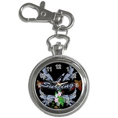 Surfboarder With Damask In Blue On Black Bakcground Key Chain Watches by FantasyWorld7