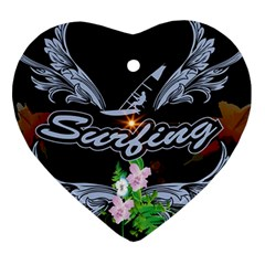 Surfboarder With Damask In Blue On Black Bakcground Heart Ornament (2 Sides) by FantasyWorld7