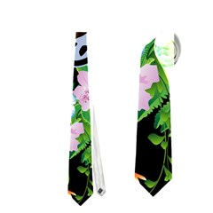 Surfboarder With Damask In Blue On Black Bakcground Neckties (one Side)