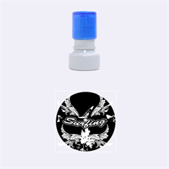Surfboarder With Damask In Blue On Black Bakcground Rubber Round Stamps (small) by FantasyWorld7