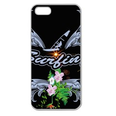 Surfboarder With Damask In Blue On Black Bakcground Apple Seamless Iphone 5 Case (clear) by FantasyWorld7