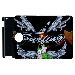 Surfboarder With Damask In Blue On Black Bakcground Apple Ipad 3/4 Flip 360 Case by FantasyWorld7