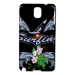 Surfboarder With Damask In Blue On Black Bakcground Samsung Galaxy Note 3 N9005 Hardshell Case by FantasyWorld7