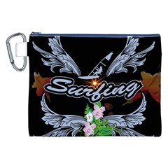 Surfboarder With Damask In Blue On Black Bakcground Canvas Cosmetic Bag (XXL)  by FantasyWorld7