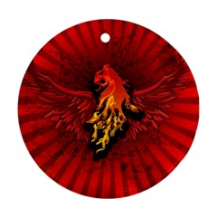 Lion With Flame And Wings In Yellow And Red Ornament (round)  by FantasyWorld7