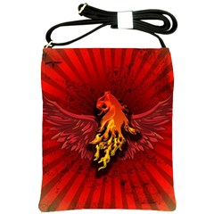 Lion With Flame And Wings In Yellow And Red Shoulder Sling Bags by FantasyWorld7