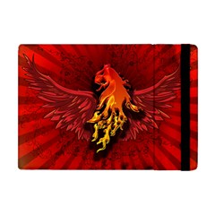 Lion With Flame And Wings In Yellow And Red Apple Ipad Mini Flip Case by FantasyWorld7