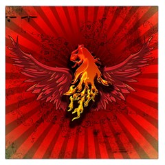 Lion With Flame And Wings In Yellow And Red Large Satin Scarf (square) by FantasyWorld7