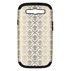 Gold tones vintage floral damasks pattern Samsung Galaxy S III Hardshell Case (PC+Silicone) by Dushan