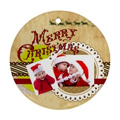 Xmas By Joy   Round Ornament (two Sides)   5nseknkbit95   Www Artscow Com Front
