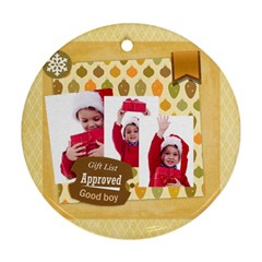 Xmas By Joy   Round Ornament (two Sides)   7zo7l1yhito4   Www Artscow Com Back
