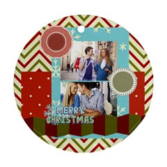 Xmas By Joy   Round Ornament (two Sides)   P2actj8qqols   Www Artscow Com Front