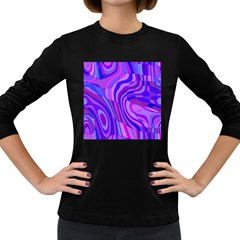 Retro Abstract Blue Pink Women s Long Sleeve Dark T Shirts by ImpressiveMoments