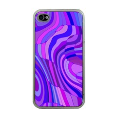 Retro Abstract Blue Pink Apple Iphone 4 Case (clear) by ImpressiveMoments