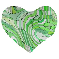 Retro Abstract Green Large 19  Premium Flano Heart Shape Cushions by ImpressiveMoments