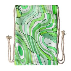 Retro Abstract Green Drawstring Bag (large) by ImpressiveMoments