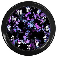 Splatter Blue Pink Wall Clocks (black) by MoreColorsinLife