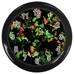 Splatter Red Green Wall Clocks (black) by MoreColorsinLife