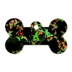 Splatter Red Green Dog Tag Bone (one Side) by MoreColorsinLife