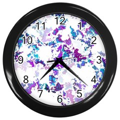 Splatter White Lilac Wall Clocks (black) by MoreColorsinLife