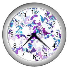 Splatter White Lilac Wall Clocks (silver)  by MoreColorsinLife