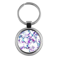 Splatter White Lilac Key Chains (round)  by MoreColorsinLife