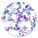 Splatter White Lilac Magnet 5  (Round) Front