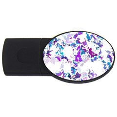 Splatter White Lilac Usb Flash Drive Oval (2 Gb)  by MoreColorsinLife