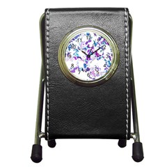 Splatter White Lilac Pen Holder Desk Clocks by MoreColorsinLife