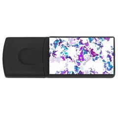 Splatter White Lilac Usb Flash Drive Rectangular (4 Gb)  by MoreColorsinLife