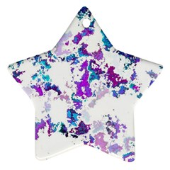Splatter White Lilac Star Ornament (two Sides)  by MoreColorsinLife