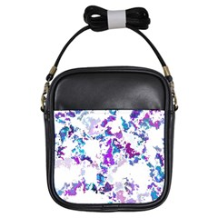 Splatter White Lilac Girls Sling Bags by MoreColorsinLife