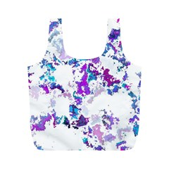 Splatter White Lilac Full Print Recycle Bags (m)  by MoreColorsinLife