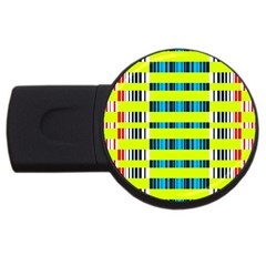 Rectangles And Vertical Stripes Pattern Usb Flash Drive Round (4 Gb) by LalyLauraFLM