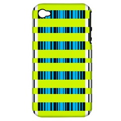 Rectangles And Vertical Stripes Pattern Apple Iphone 4/4s Hardshell Case (pc+silicone) by LalyLauraFLM