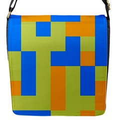 Tetris Shapes Flap Closure Messenger Bag (s) by LalyLauraFLM