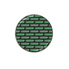 Green 3d Rectangles Pattern Hat Clip Ball Marker by LalyLauraFLM