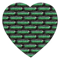 Green 3d Rectangles Pattern Jigsaw Puzzle (heart) by LalyLauraFLM