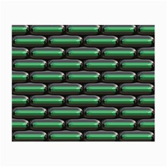 Green 3d Rectangles Pattern Small Glasses Cloth (2 Sides) by LalyLauraFLM