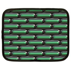 Green 3d Rectangles Pattern Netbook Case (large)	 by LalyLauraFLM